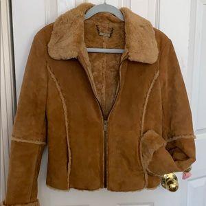 Hippy boho leather fur lined winlit jacket vintage